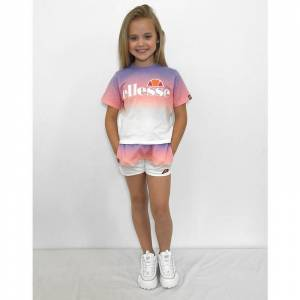 Ellesse Girls' Azuro Completo T-Shirt e Shorts Bambino - Only at JD, Viola