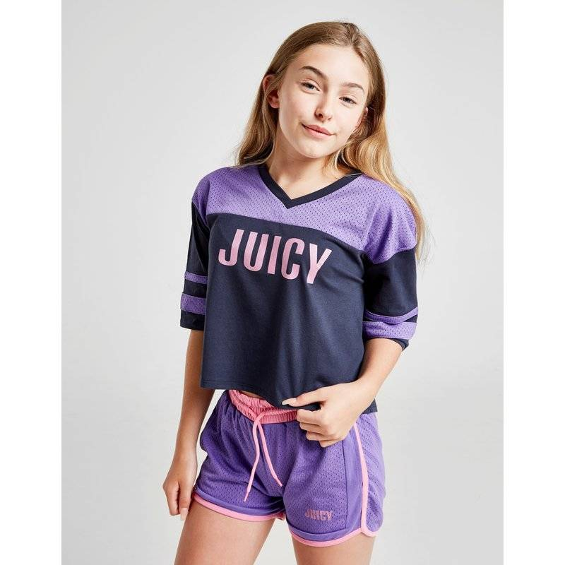 Juicy Couture Juicy by Juicy Couture Mesh Crop T-Shirt Junior, Celeste