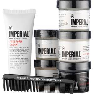 Imperial Cura per uomo Hairstyling Travel Assortment Box Pocket Comb + Freeform Cream 57 g + Classic Pomade 57 g + Fiber Pomade 57 g + Gel Pomade 57 g + Matte Pomade Paste 57 g + Blacktop Pomade 57 g 1 Stk.