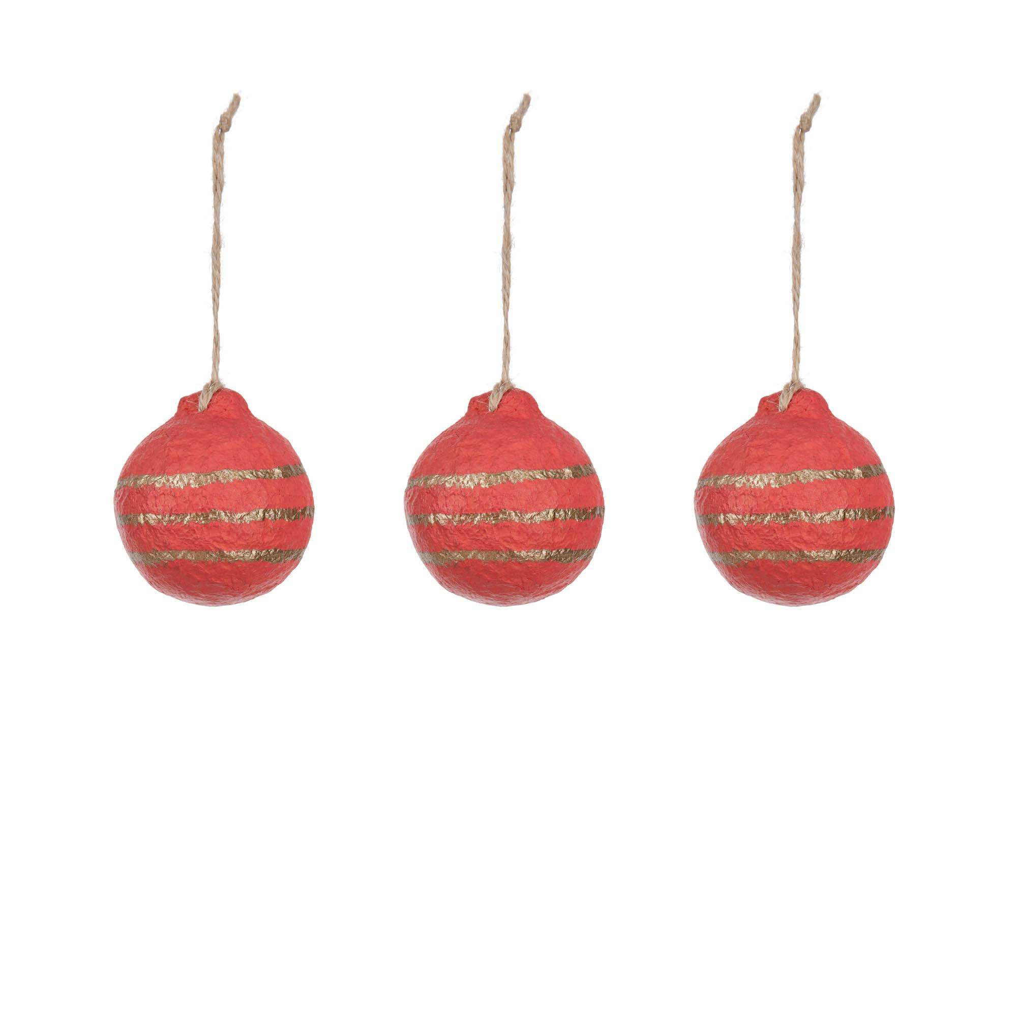 Kave Home Set Galia palle decorative a righe rosso