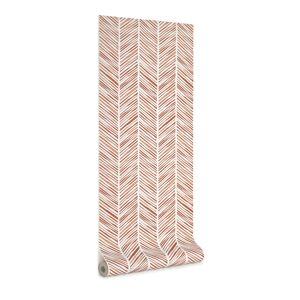 Kave Home Carta da parati Uriana con stampa a strisce marroni 10 x 0,53 m
