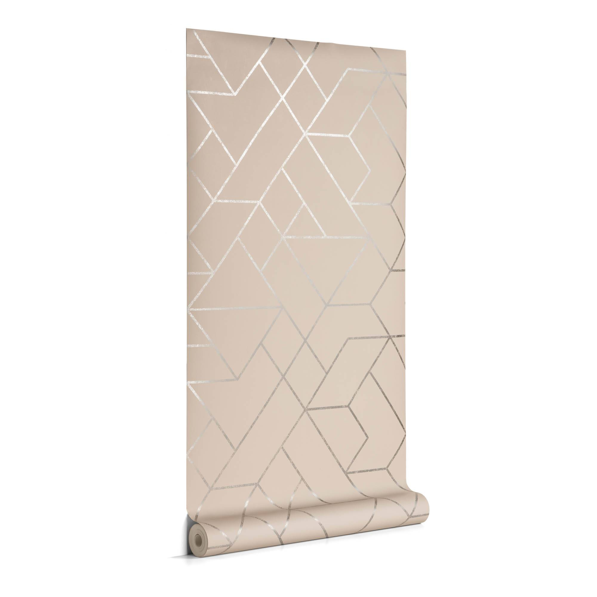 Kave Home Carta da parati Gea grigio e argento 10 x 0,53 m