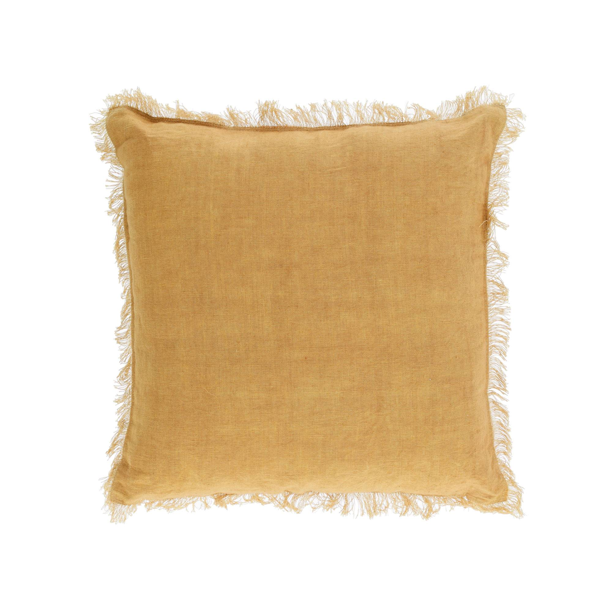 Kave Home Fodera cuscino Almira cotone e lino con frange mostarda 45 x 45 cm