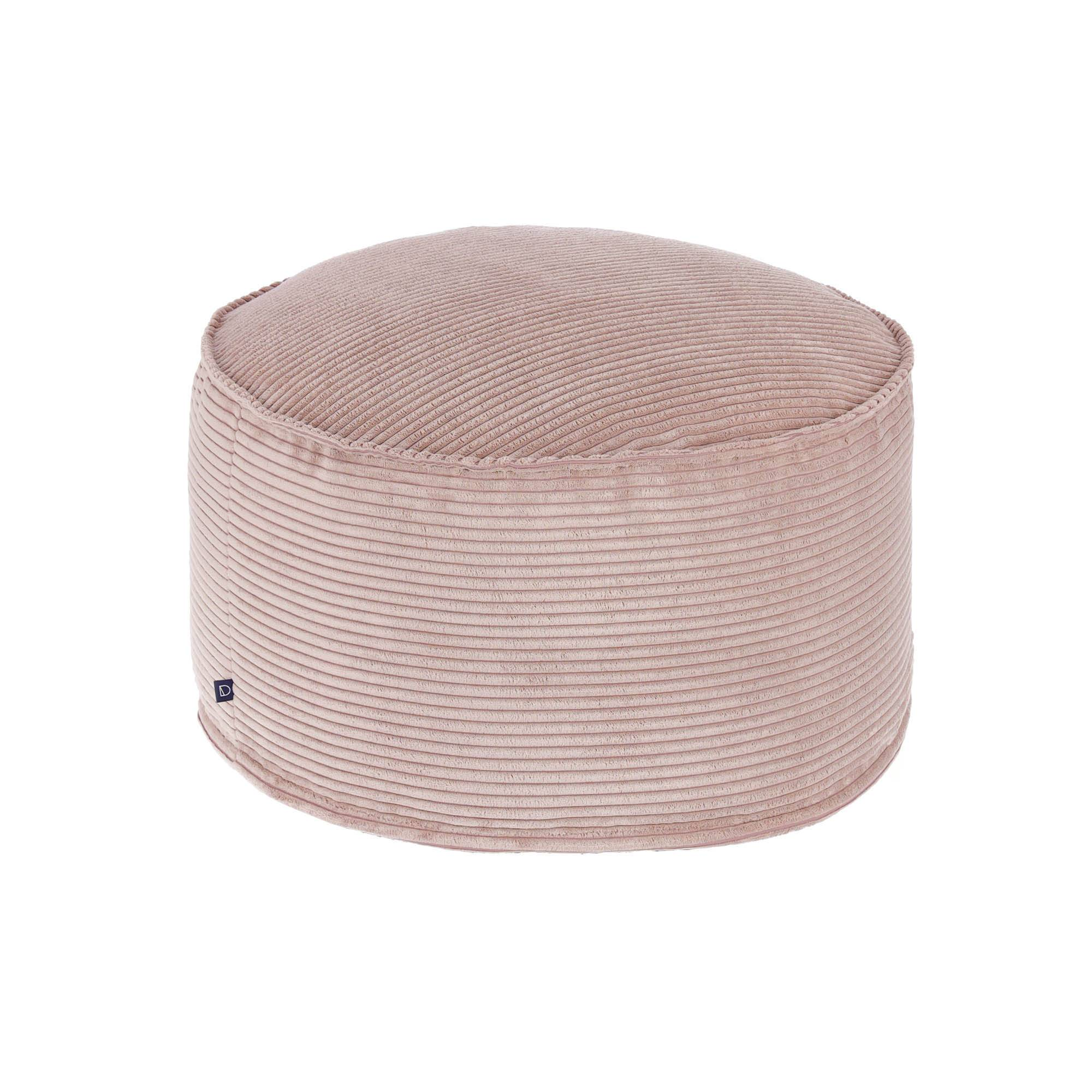 Kave Home Pouf grande Wilma Ø 70 cm velluto a coste rosa