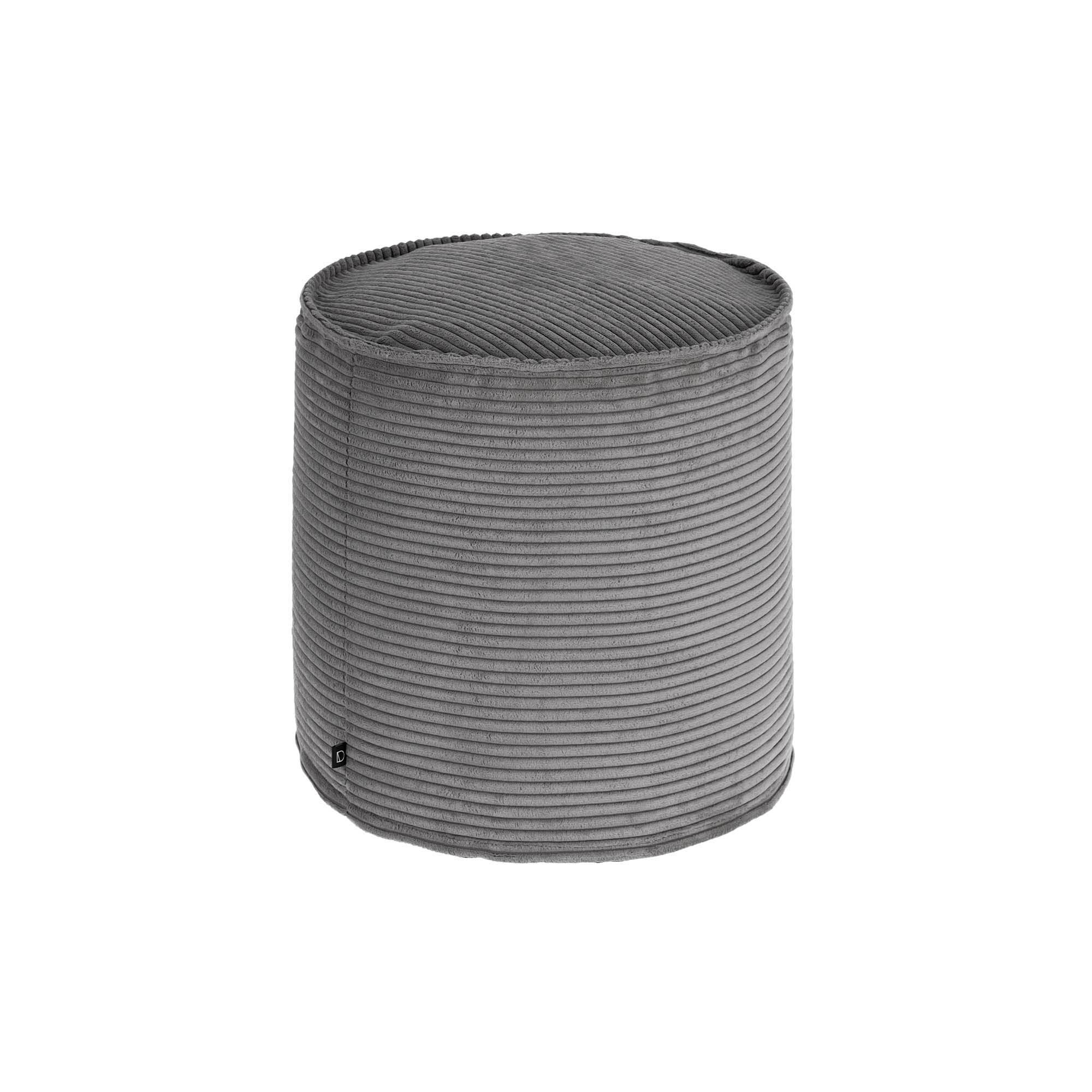 Kave Home Pouf piccolo Wilma Ø 40 cm velluto a coste grigio