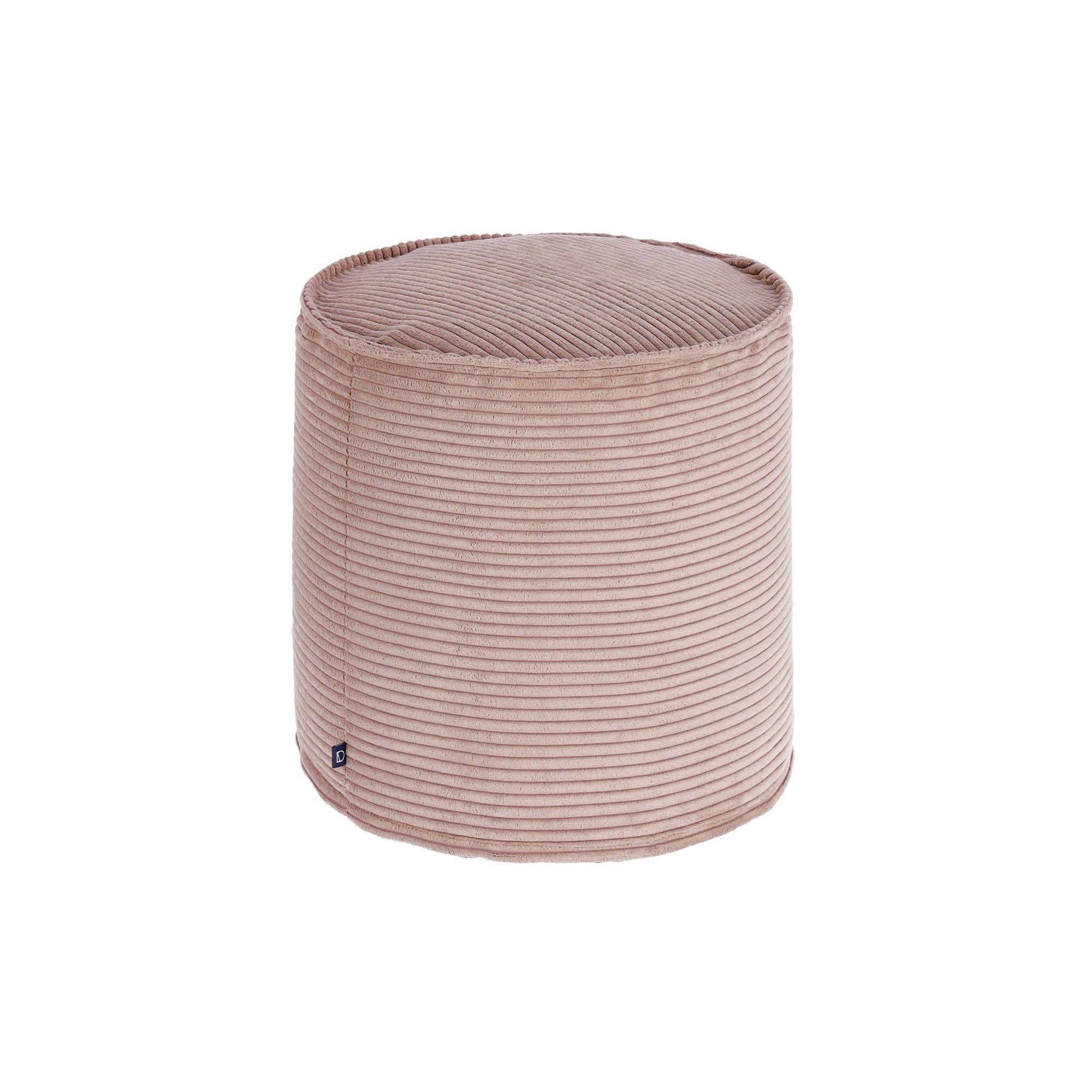 Kave Home Pouf piccolo Wilma Ø 40 cm velluto a coste rosa