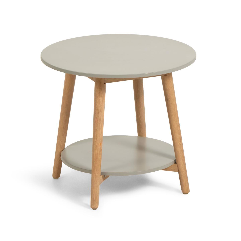 Kave Home Tavolino rotondo Nina in polycement e legno massello di eucalipto, Ø 50 cm FSC 100%