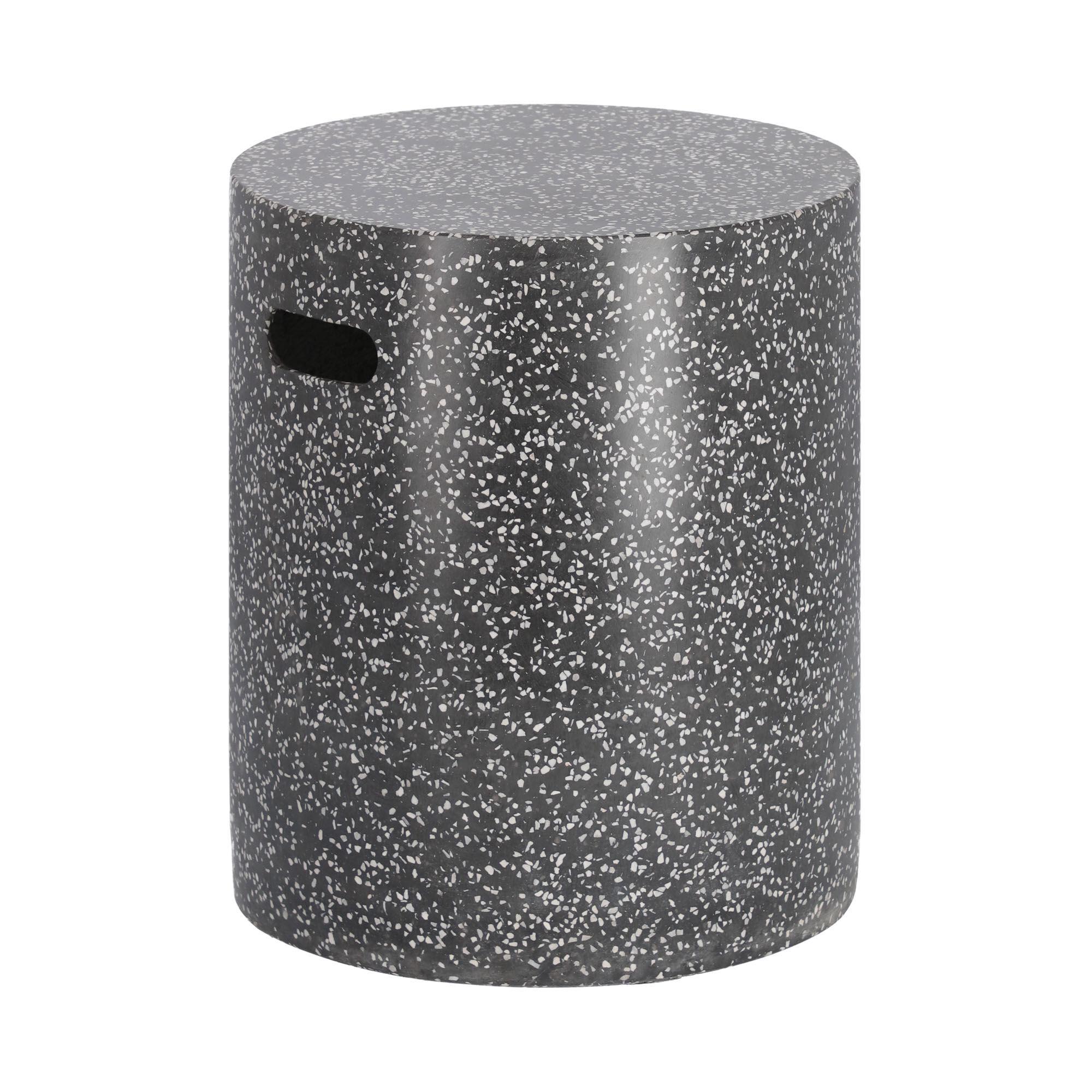 Kave Home Sgabello Jenell in terrazzo nero Ø 35 cm