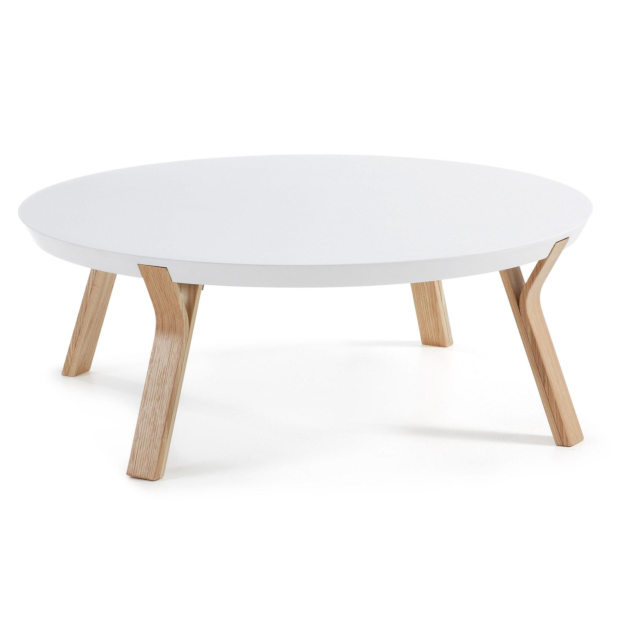 Kave Home Tavolino Dilos Ø 90 cm bianco e frassino