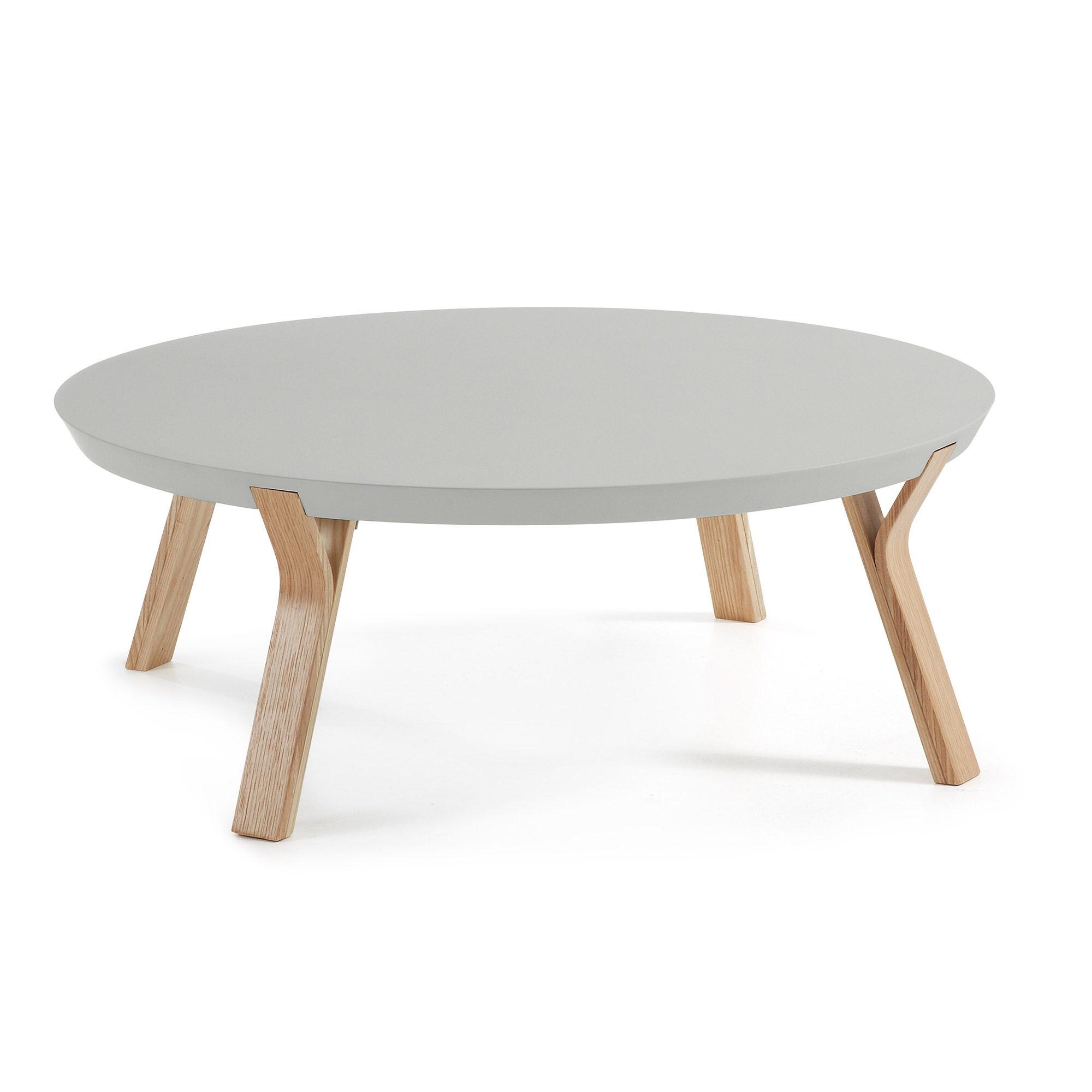 Kave Home Tavolino Dilos Ø 90 cm grigio e frassino