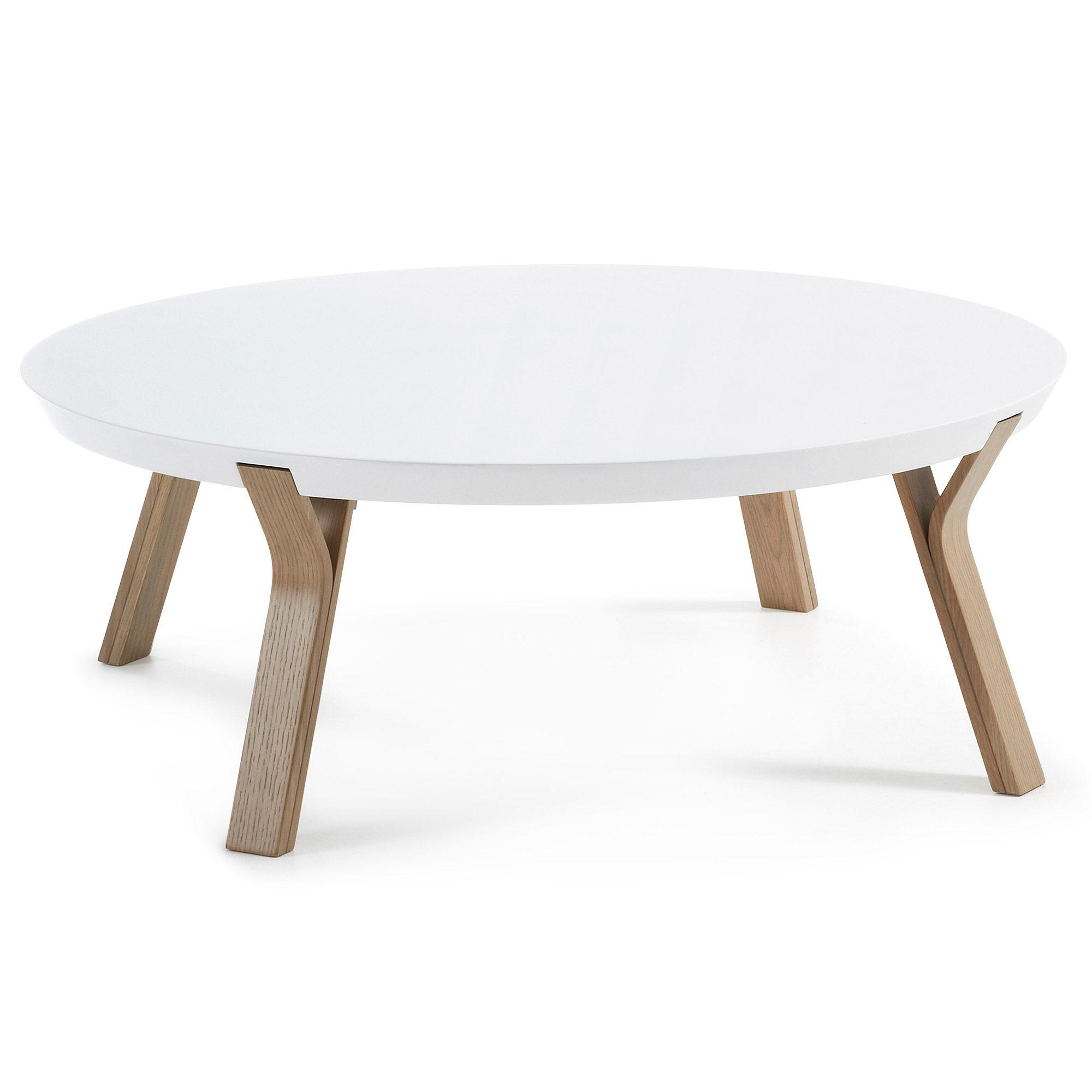 Kave Home Tavolino Dilos Ø 90 cm bianco e rovere