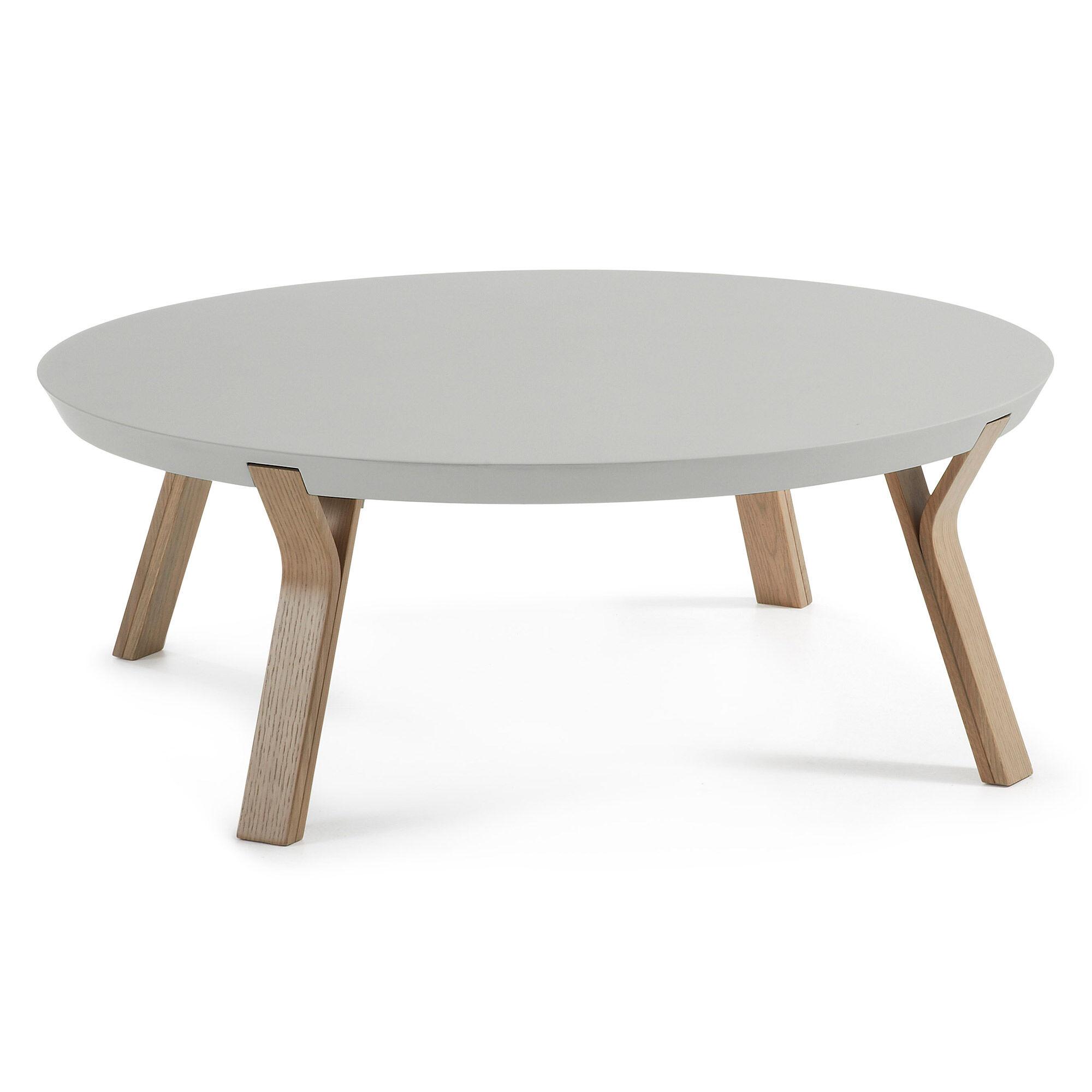 Kave Home Tavolino Dilos grigio e rovere Ø 90 cm