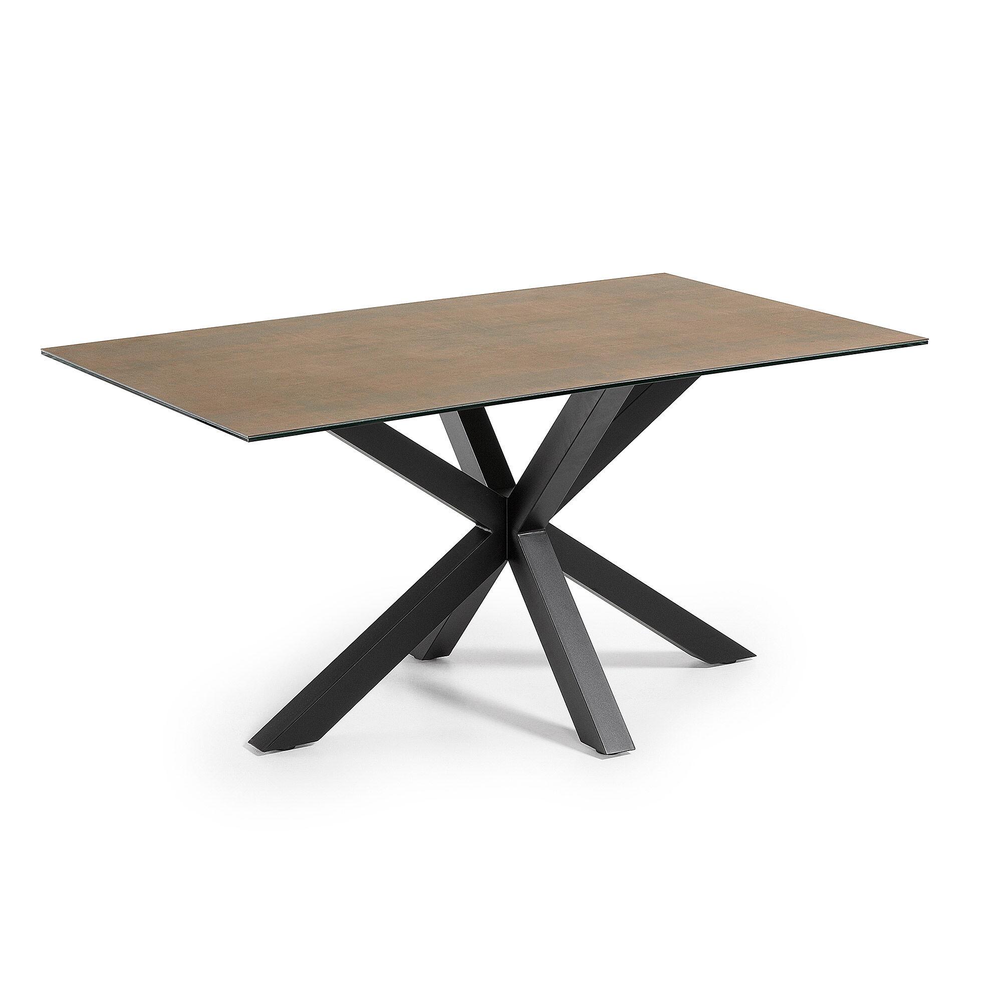 Kave Home Tavolo Argo 160 cm porcellanato finitura Iron Corten gambe nero