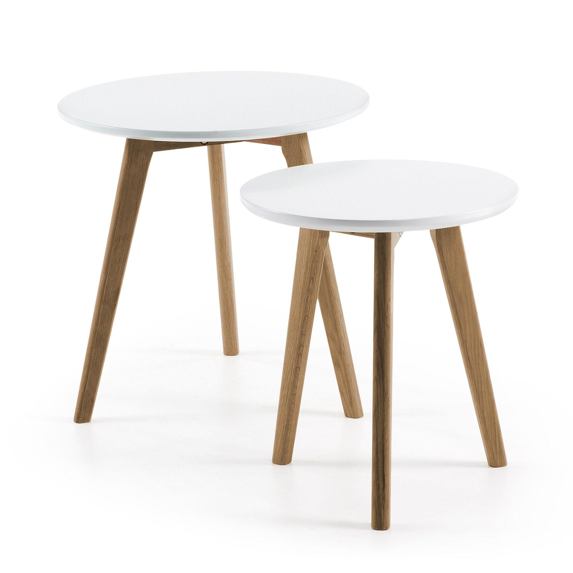 Kave Home Set rotondo Kirb da 2 tavolini Ø 50 / Ø 40 cm bianco