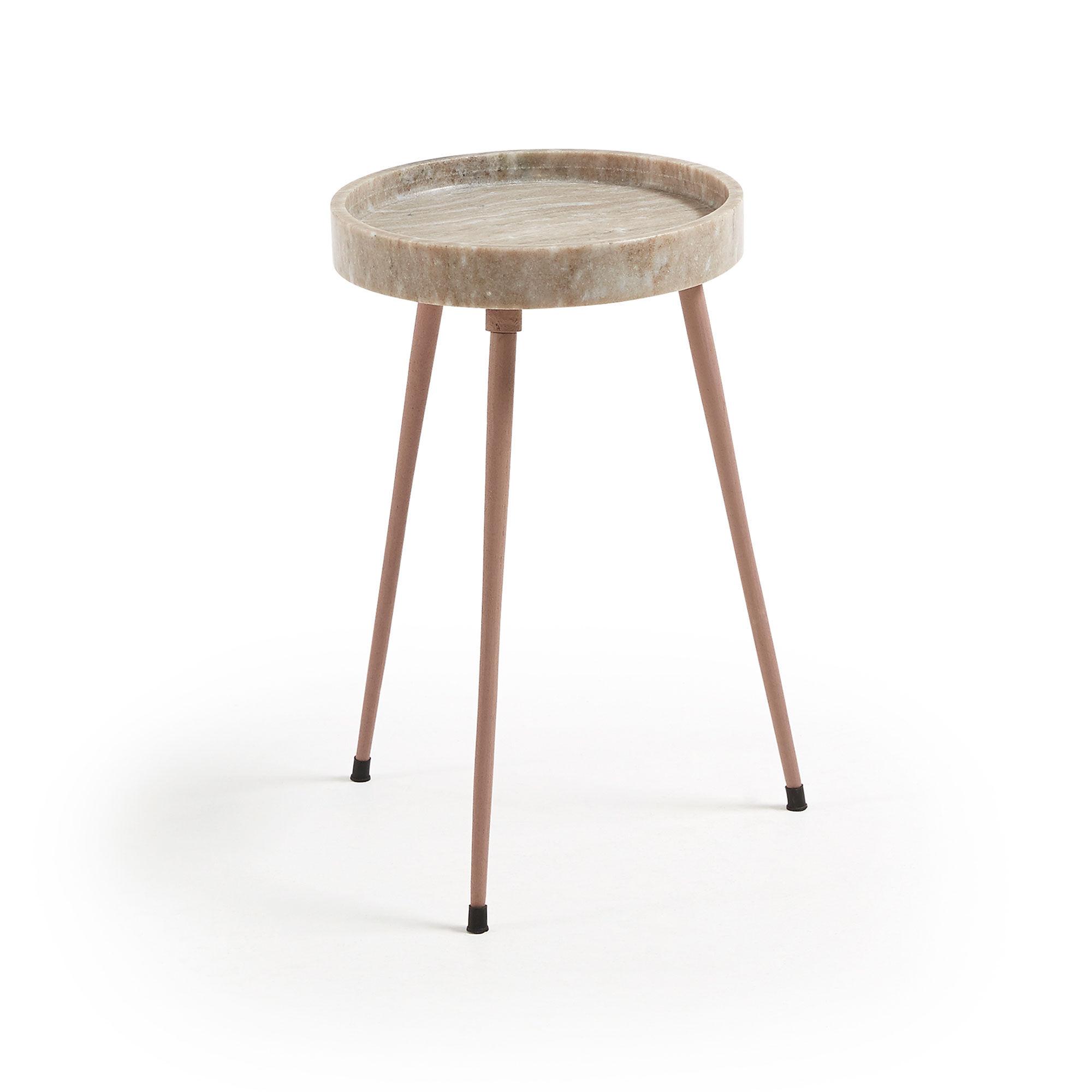 Kave Home Tavolino Rubie Ø 32 cm beige