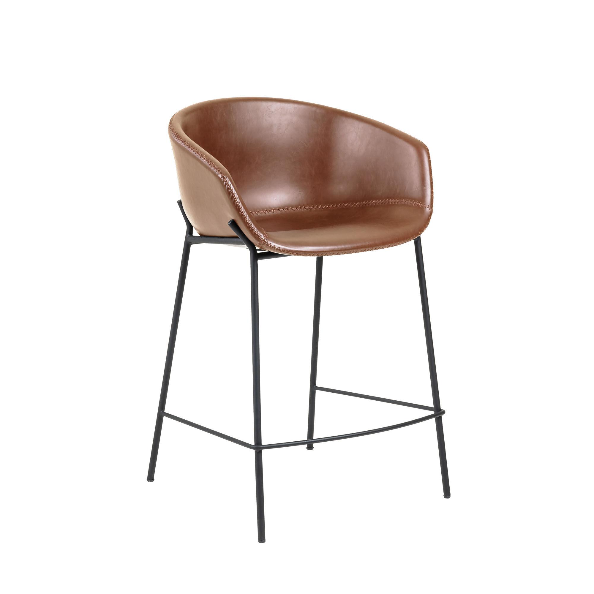 kave home sgabello yvette in pelle sintetica marrone altezza 65 cm