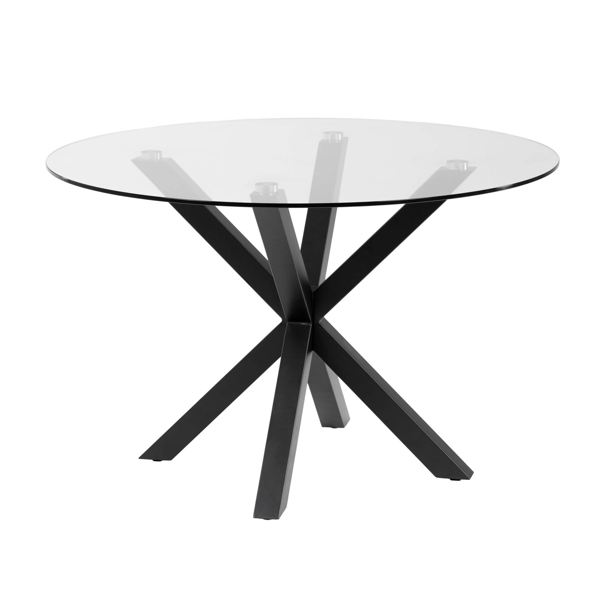 Kave Home Tavolino Full Argo Ø 119 cm vetro gambe nero