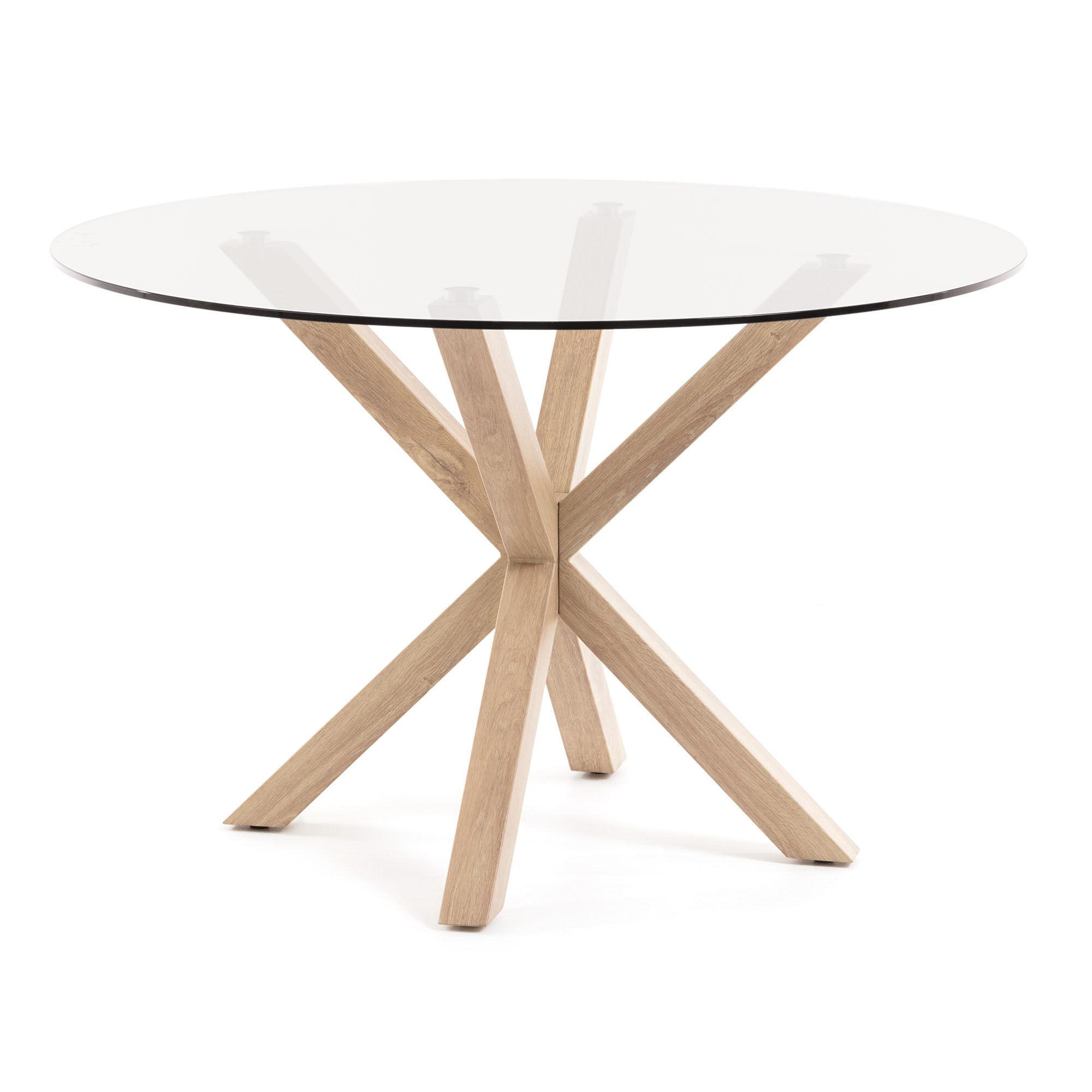 Kave Home Tavolino Full Argo Ø 119 cm vetro gambe naturali