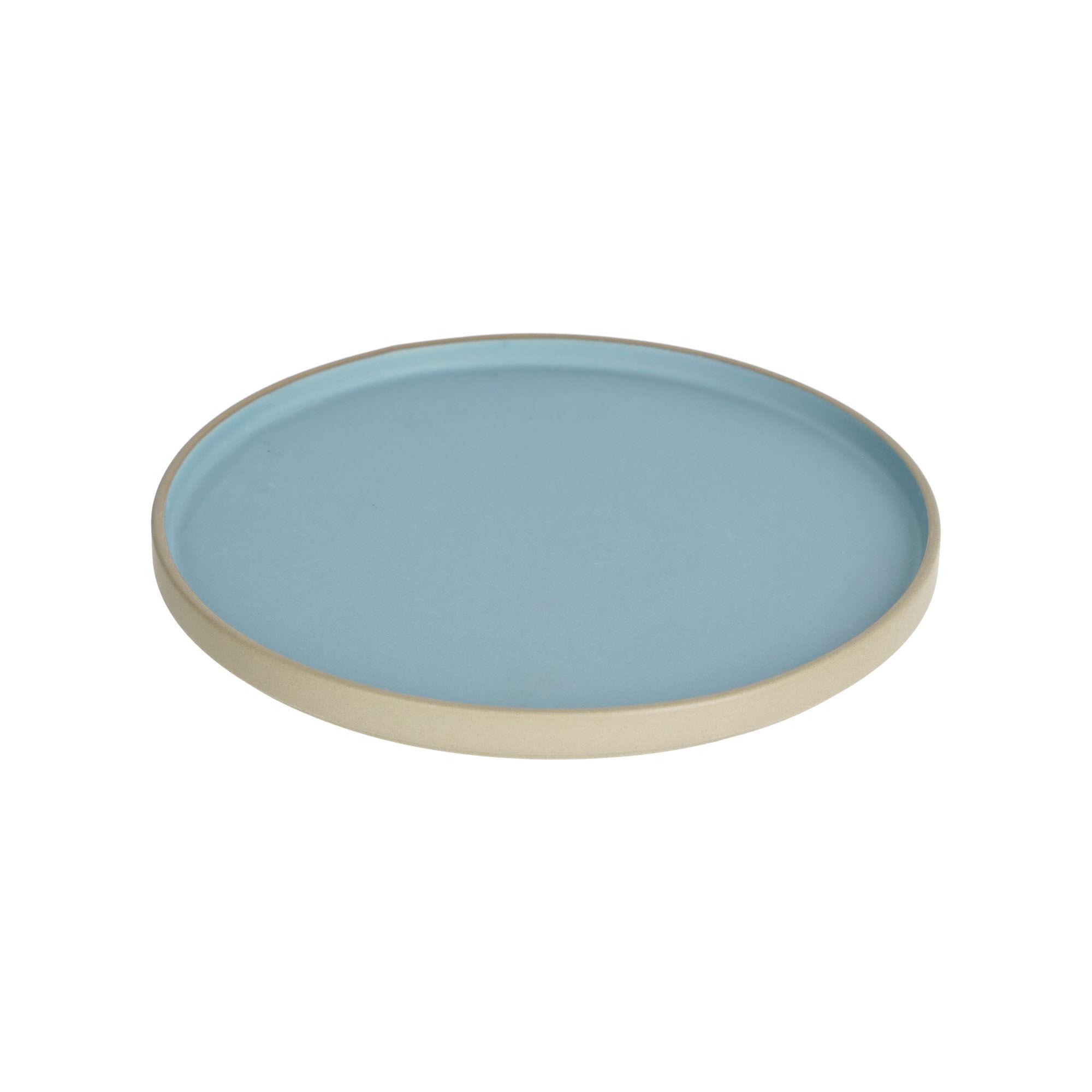 kave home piatto piano midori in ceramica blu