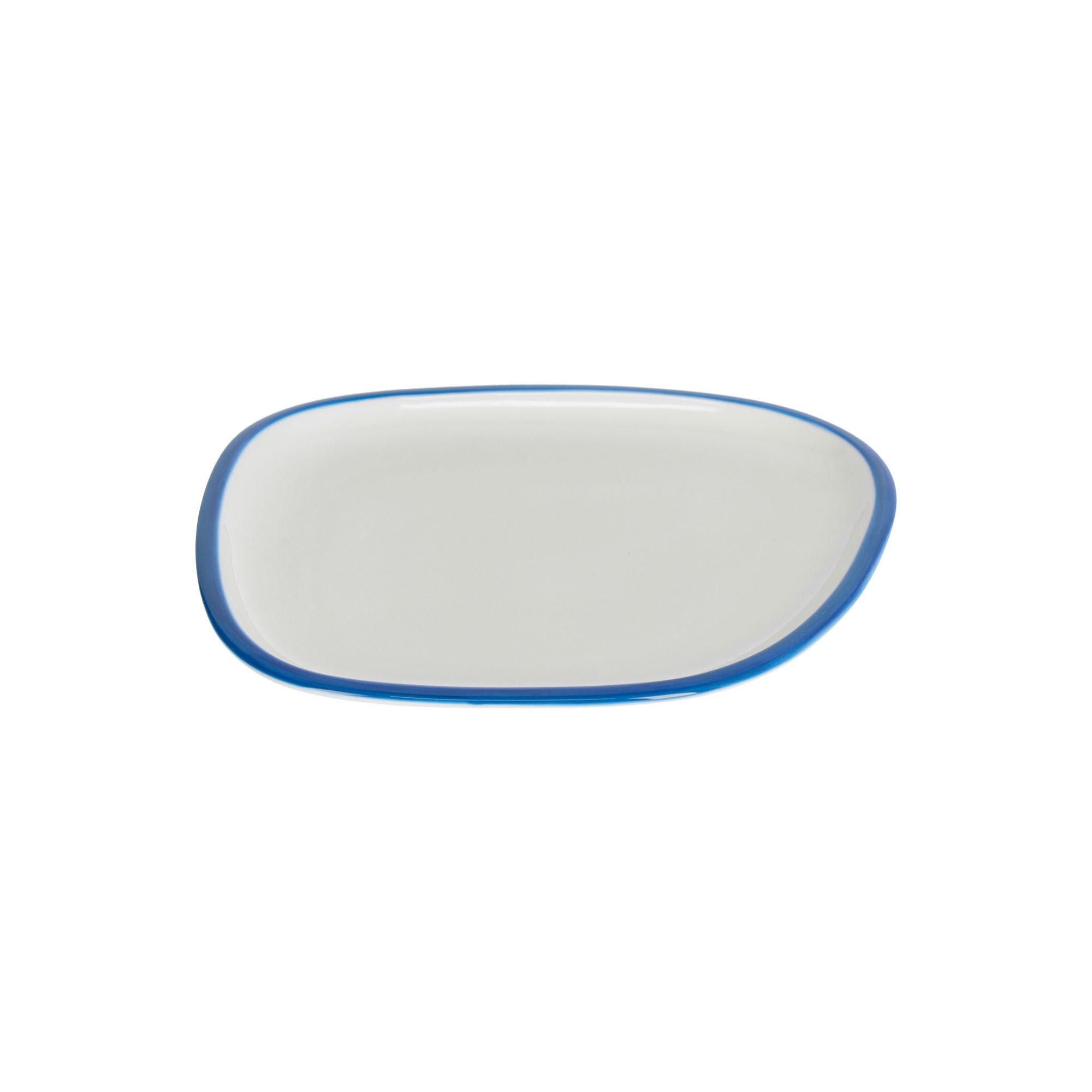kave home piatto da dessert odalin in porcellana bianca e blu