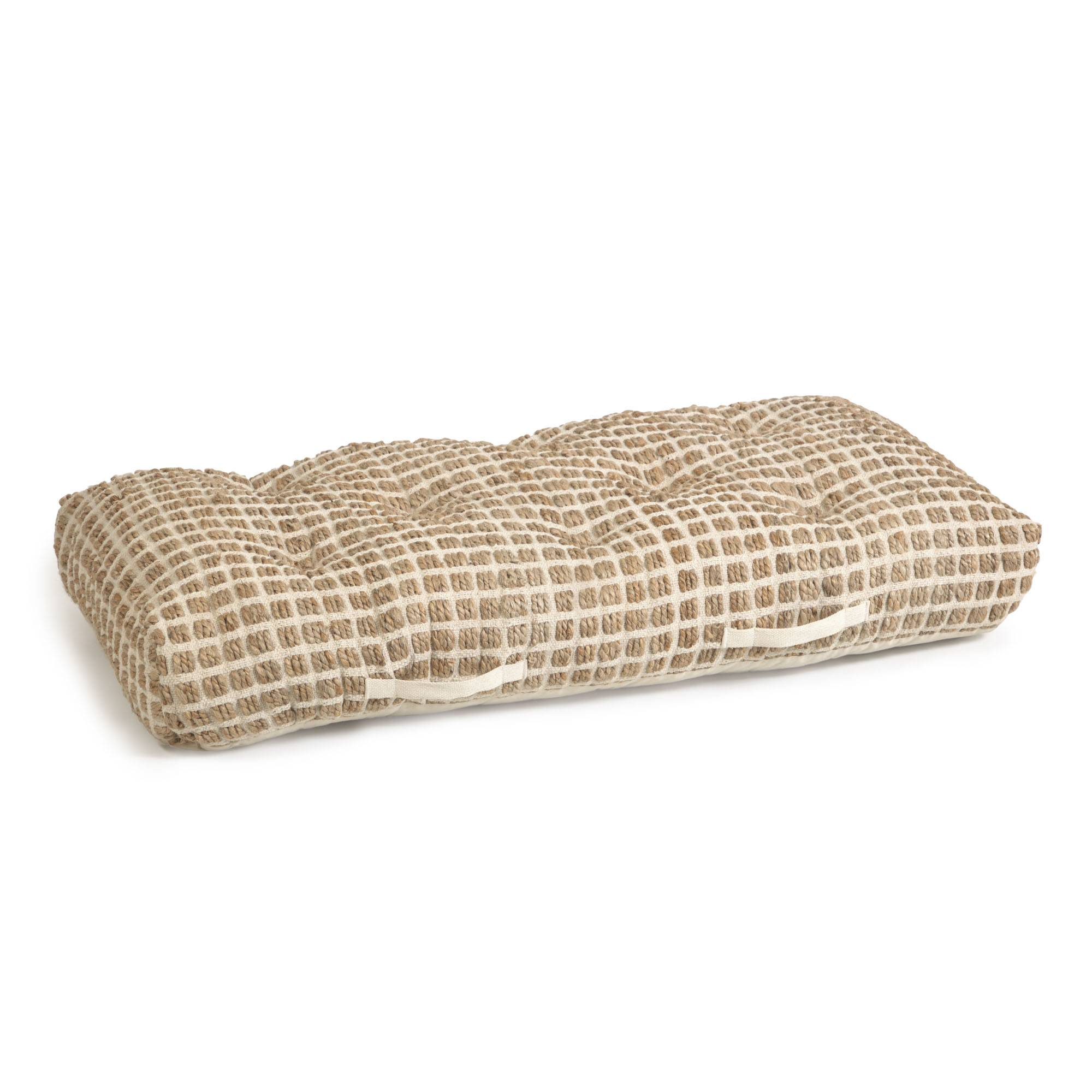 Kave Home Cuscino da terra o per pallet Adelma iuta e cotone bianco e naturale 60 x 120 cm