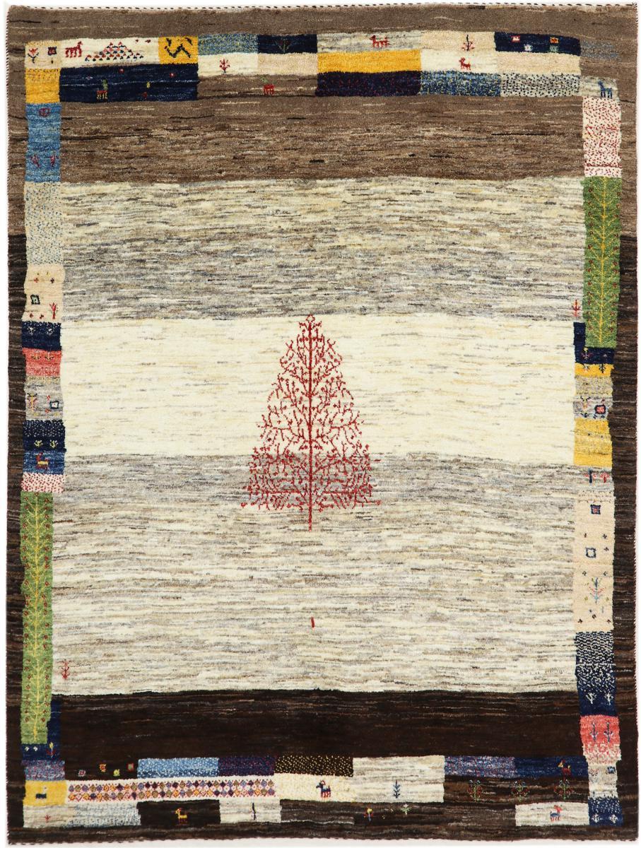 nain trading tappeto persiano persia gabbeh loribaft nature 188x144 grigio scuro/marrone scuro (annodato a mano, persia/iran, lana)