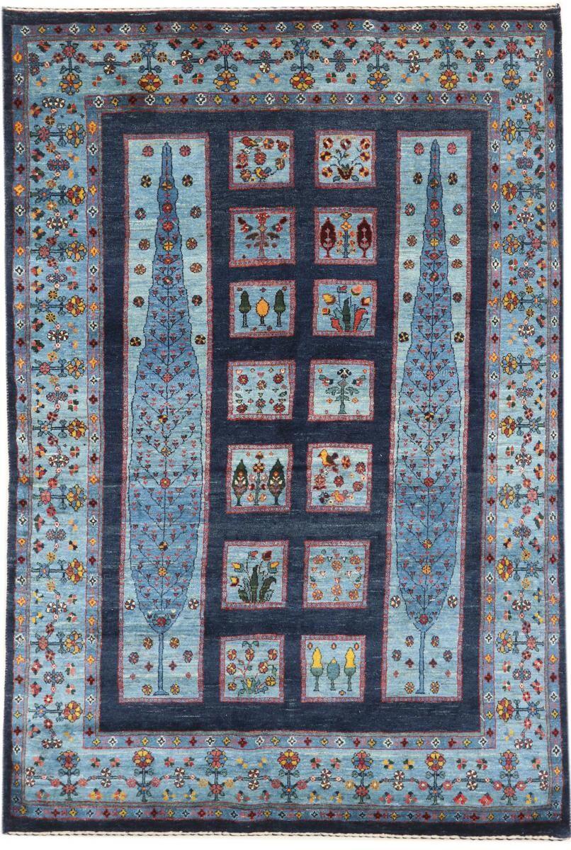 nain trading tappeto persiano persia gabbeh loribaft nature 209x144 grigio scuro/blu (annodato a mano, persia/iran, lana)