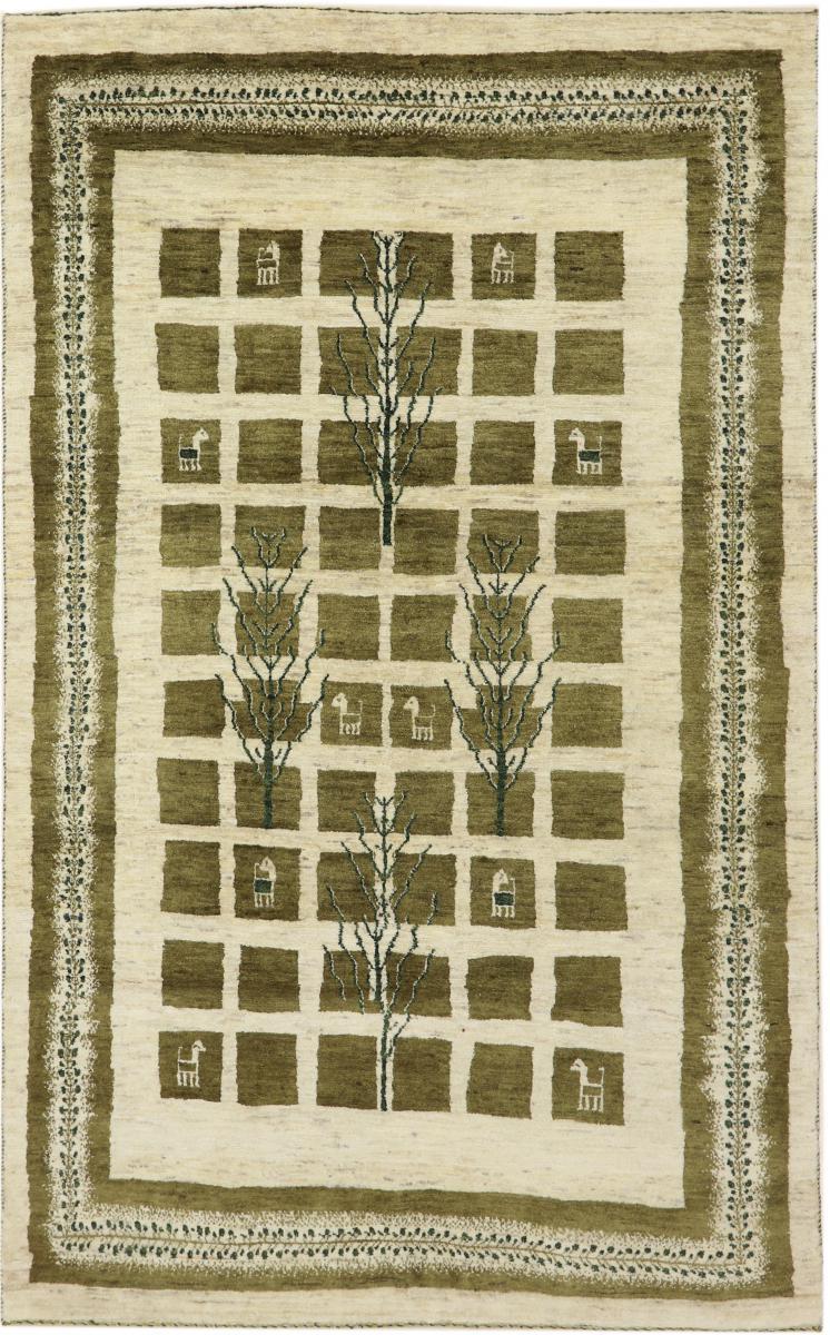 nain trading tappeto persiano persia gabbeh loribaft nature 229x144 marrone scuro/verde scuro (annodato a mano, persia/iran, lana)