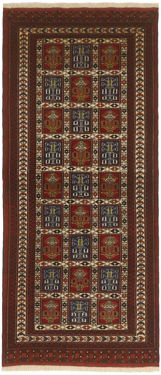 Nain Trading Tappeto Orientale Turkaman 196x84 Corridore Grigio Scuro/Marrone Scuro (Persia/Iran, Lana, Annodato a mano)
