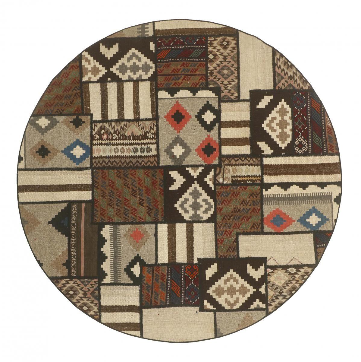 Nain Trading Tappeto Persiano Kilim Patchwork 199x201 Rossoondo Beige/Marrone Scuro (Tessuto a mano, Persia/Iran, Lana)