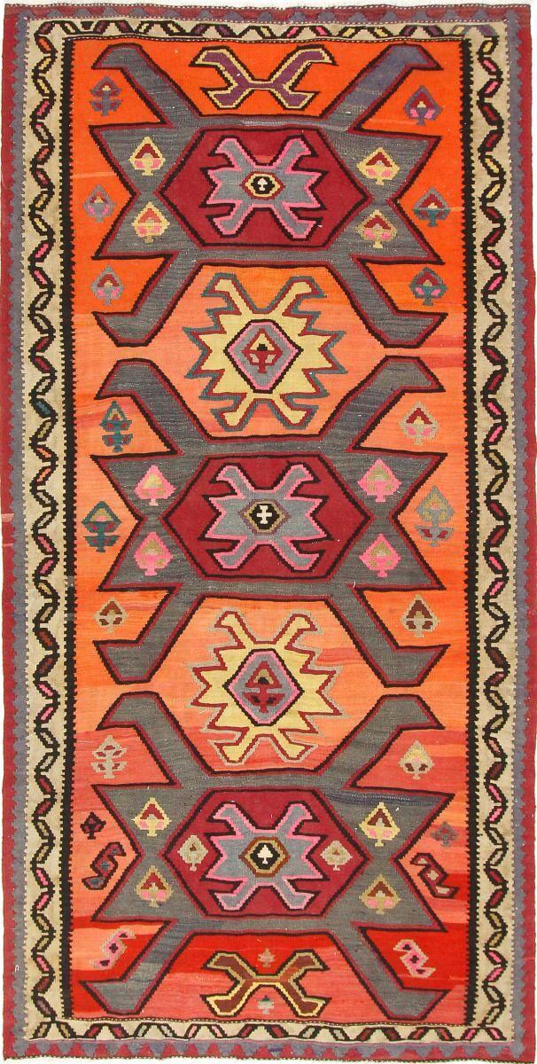 Nain Trading Tappeto Tessuto a Mano Kilim Fars Azerbaijan Antico 303x150 Corridore Beige/Arancione (Lana, Persia/Iran)