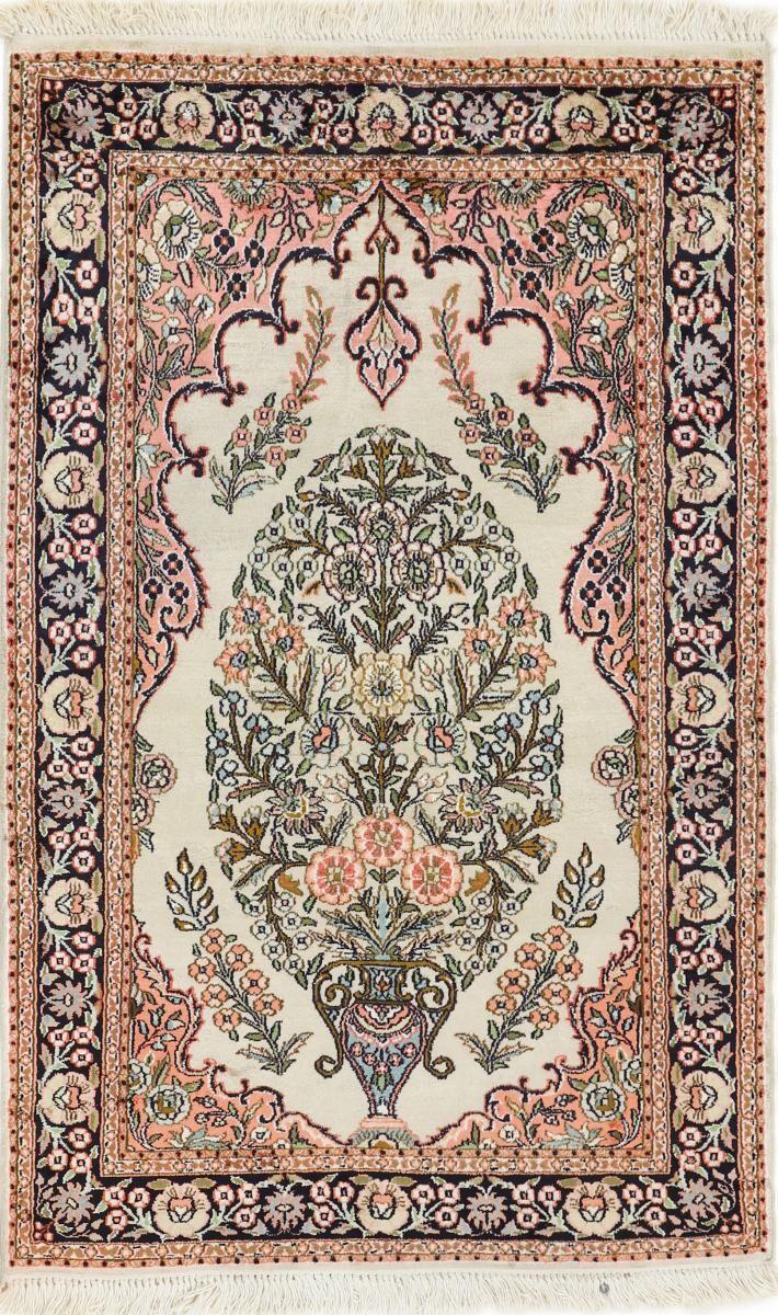 Nain Trading Tappeto Orientale Cachemire di Seta 121x76 Beige/Marrone Scuro (Seta, Afghanistan, Annodato a mano)