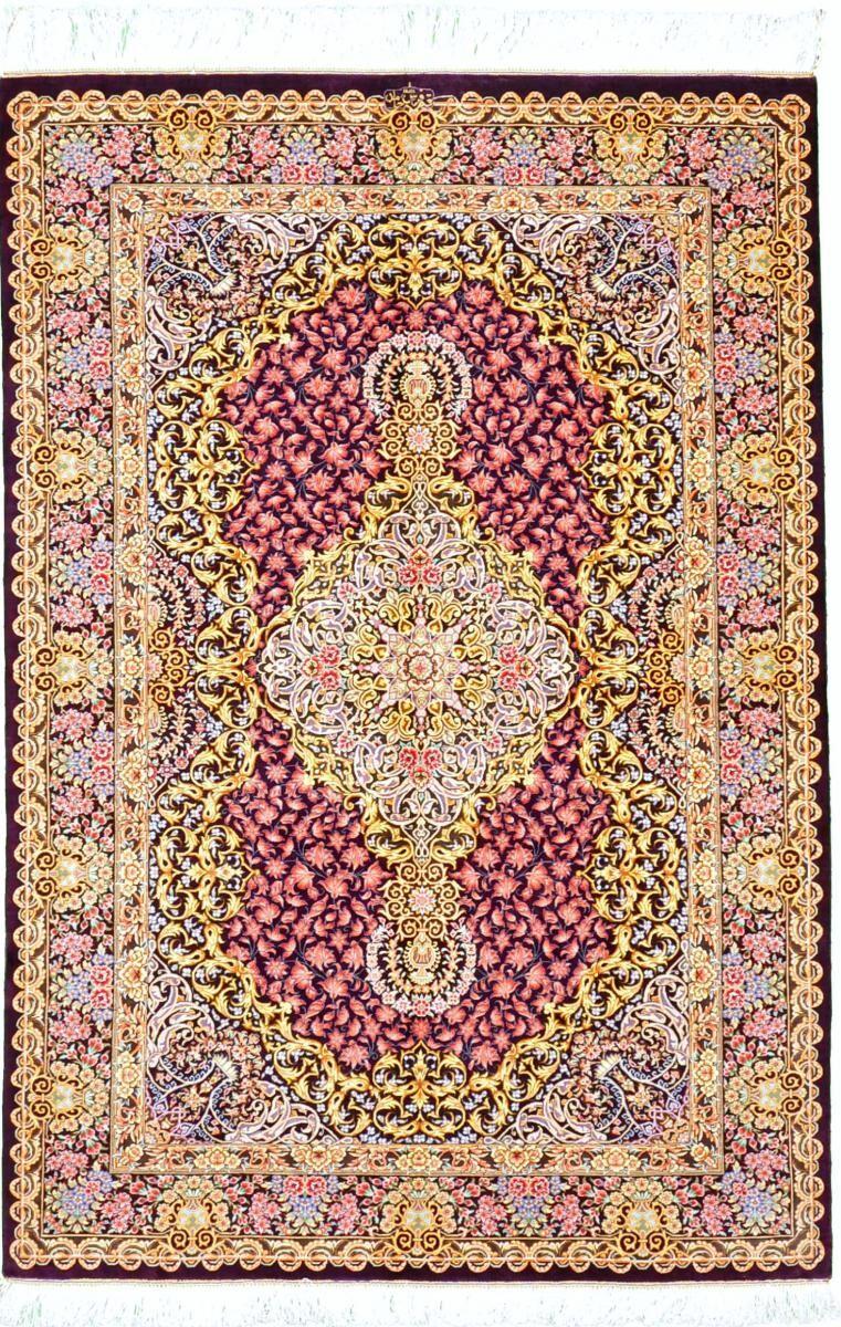 Nain Trading Tappeto Fatto A Mano Qum di Seta 149x102 Ruggine/Rosa (Seta, Persia/Iran)