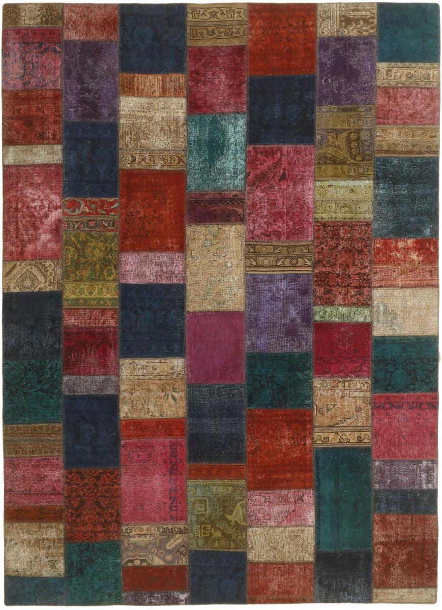 Nain Trading Tappeto Persiano Patchwork 352x254 Grigio Scuro/Marrone (Annodato a mano, Persia/Iran, Lana)