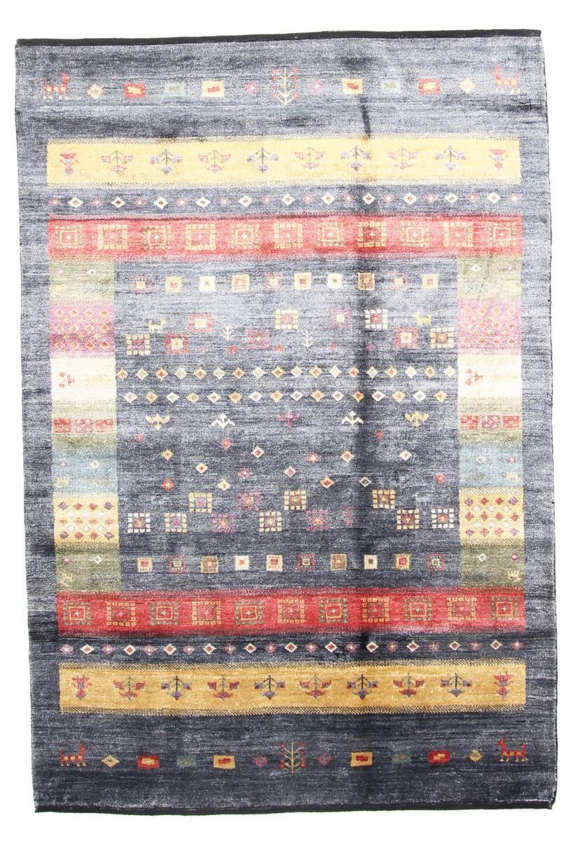 Nain Trading Tappeto Orientale Gabbeh Design Bambus di Seta 181x123 Grigio Scuro/Beige (Seta di bambù, India, Annodato a mano)