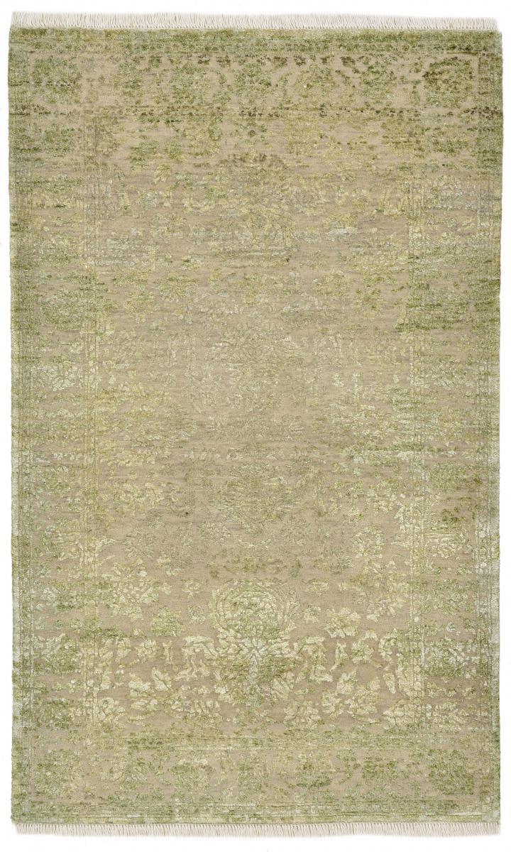 Nain Trading Tappeto Sadraa 148x89 Moderna/Design Beige/Verde Scuro (Annodato a mano, Seta Lana / Bambù, India)