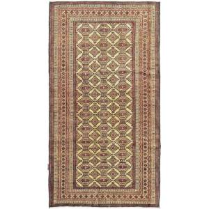 Nain Trading Tappeto Turkaman 181x99 Corridore Beige/Marrone Scuro (Lana, Persia/Iran, Annodato a mano)