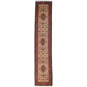 Nain Trading Tappeto Qum 414x86 Corridore Ruggine/Rosa (Lana, Persia/Iran, Annodato a mano)