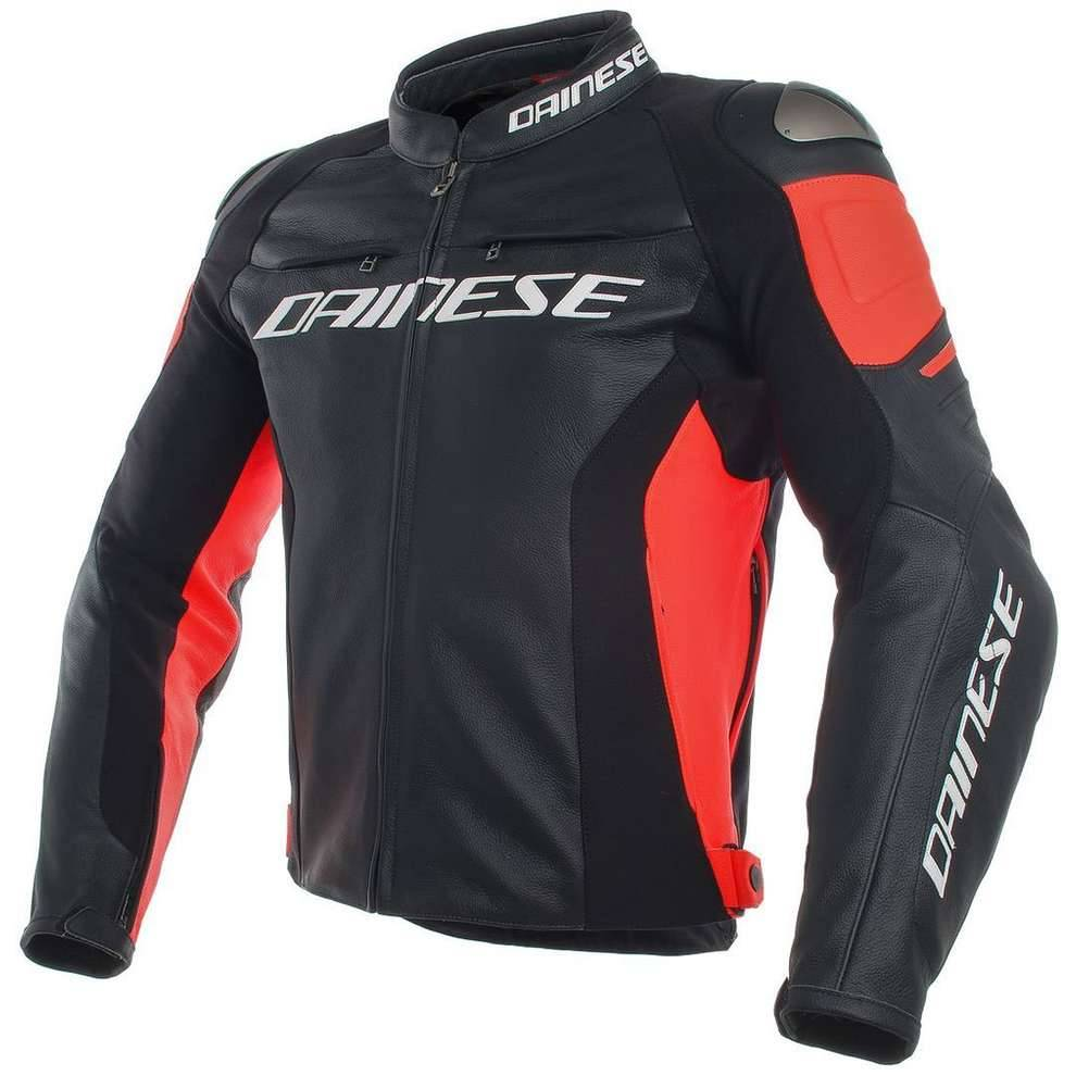 Dainese Giacca Racing 3 Perforata nero rosso fluo