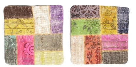 annodato a mano. provenienza: turkey 50x50 tappeto patchwork fodera per cuscino orientale fatto a mano quadrato beige/marrone chiaro (lana, turchia)