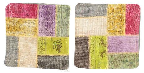 annodato a mano. provenienza: turkey tappeto fatto a mano patchwork fodera per cuscino 50x50 quadrato giallo/beige (lana, turchia)