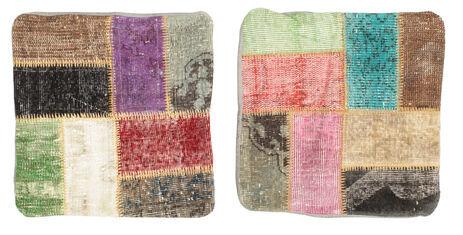 annodato a mano. provenienza: turkey 50x50 tappeto orientale patchwork fodera per cuscino quadrato rosso scuro/grigio scuro (lana, turchia)