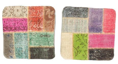 annodato a mano. provenienza: turkey 50x50 tappeto orientale patchwork fodera per cuscino quadrato beige scuro/grigio scuro (lana, turchia)