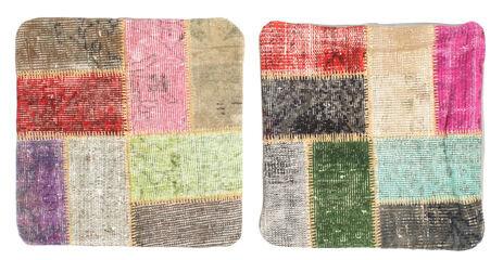 annodato a mano. provenienza: turkey tappeto patchwork fodera per cuscino 50x50 quadrato grigio scuro/beige (lana, turchia)
