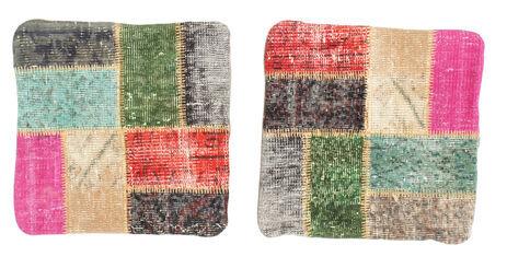 annodato a mano. provenienza: turkey 50x50 tappeto orientale patchwork fodera per cuscino quadrato grigio scuro/verde oliva (lana, turchia)