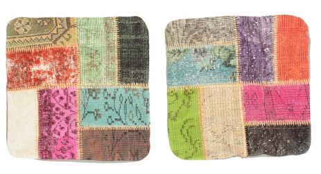 annodato a mano. provenienza: turkey tappeto orientale patchwork fodera per cuscino 50x50 quadrato marrone scuro/verde chiaro (lana, turchia)