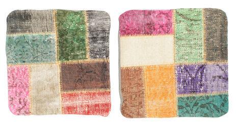 annodato a mano. provenienza: turkey tappeto fatto a mano patchwork fodera per cuscino 50x50 quadrato grigio scuro/rosa chiaro (lana, turchia)