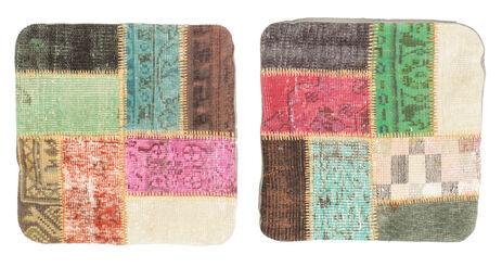annodato a mano. provenienza: turkey 50x50 tappeto patchwork fodera per cuscino orientale fatto a mano quadrato beige scuro/grigio scuro (lana, turchia)