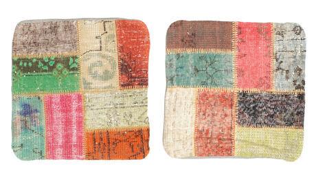 annodato a mano. provenienza: turkey tappeto orientale patchwork fodera per cuscino 50x50 quadrato beige scuro/rosa chiaro (lana, turchia)