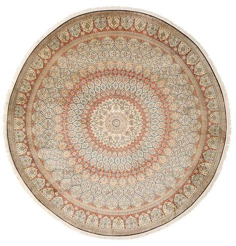 annodato a mano. provenienza: india tappeto cachemire puri di seta Ø 248 rotondo beige/grigio chiaro (seta, india)